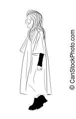 model., mujer, clothing., cima, blanco, aislado, tendencia, moderno, ilustración, moda, week., negro, estilo, fondo., coats., mujeres