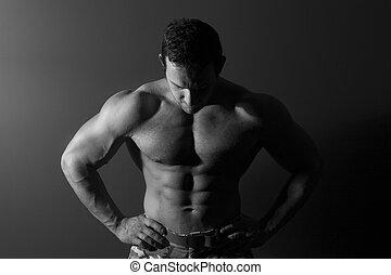 model., muscular, excitado