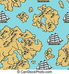 model, nautisch, oud, map., seamless