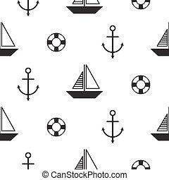 model, nautisch, seamless, scandinavische, vector, zeilboot, style.