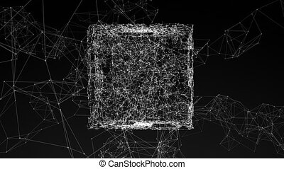 model of 3D figure, abstract geometric composition