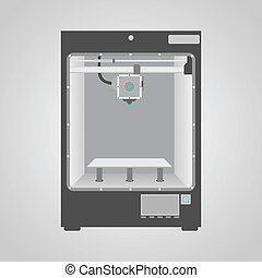 Prototype model of 3d printer in gray and white colors. Easy to place inside printer any of your product to demonstrate new 3d printing technology.