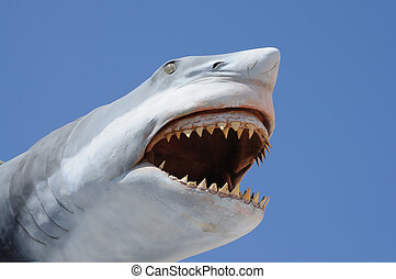Model of a dangerous shark with open mouth