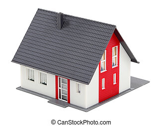 Model of a house isolated over white background