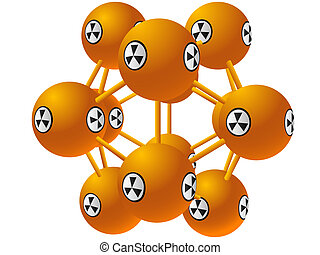 Model of a molecule with a sign on radiating danger in a vector