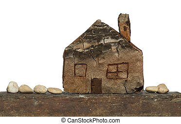 Model of a small wooden house