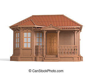 Model of a wooden house