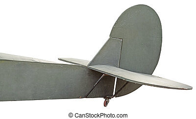 Model of ATail of an old airplane on white