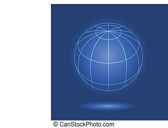 Model of globe on blue background