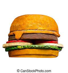 Model of hamburger isolated on white background