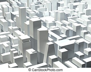 Model of modern city district - 3D buildings