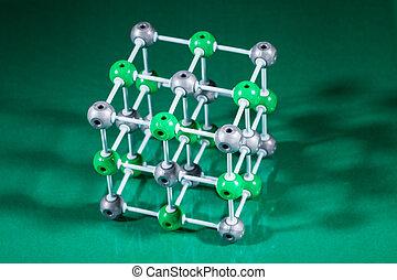 Model of NaCl molecular structure - Model of molecular...