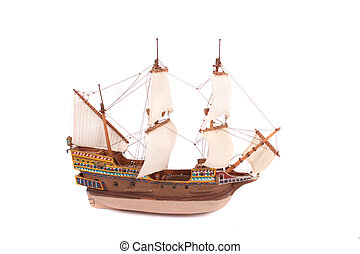 old ship - model of old ship on the white background