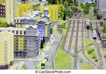 model of railroad station. railroad, trains, buildings and...