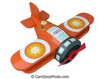 Model of the toy plane isolated on a white background
