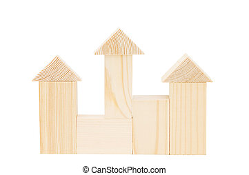 Model of the wooden house on white background