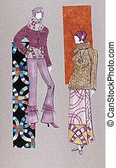 sweater, long woolen skirt, flared trousers - model of woman...