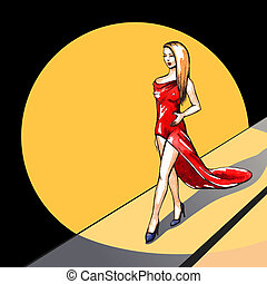 Model on the runway - vector illustration