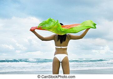 model, op, strand, in, bikini, vasthouden, sjaal, in de wind