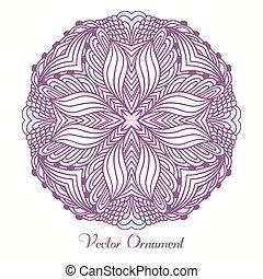 model, ornament., hand, mandala., indiër, mal, ethnische , getrokken, geometrisch, ronde, kaart