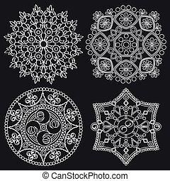 model, ornament., mandala., vector, om het rondschrijven