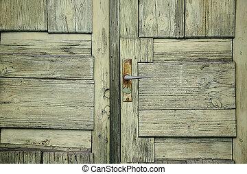 model, oud, deur, groene