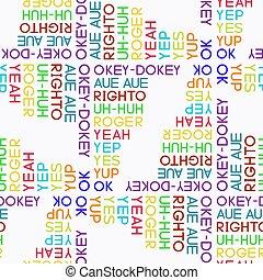 model, overeenkomst, typografie, vector, seamless, woorden, gekleurd