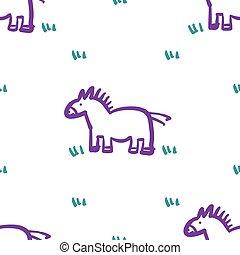 model, paarde, ontwerp, kind