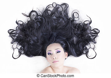 Model portrait with black hair