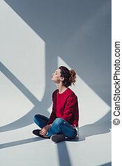 model posing in photo studio