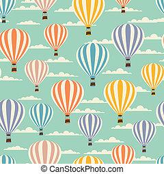 model, reizen, balloons., seamless, retro