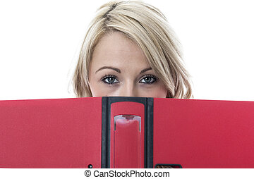 Model Released. Attractive Young Business Woman Looking Over File