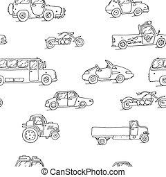 model, schets, set, seamless, vervoeren