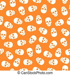 model, seamless, achtergrond, sinaasappel, witte , schedels