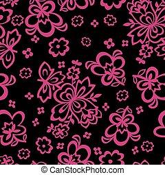 model, seamless, achtergrond., vector, black , floral