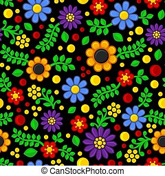 model, seamless, achtergrond., vector, black , floral