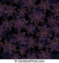 model, seamless, achtergrond., vector, black , floral, lelie