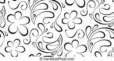 model, seamless, achtergrond., zwarte achtergrond, floral, witte
