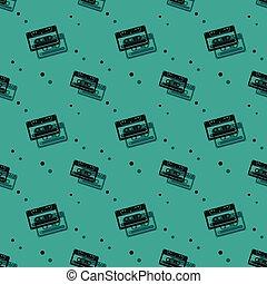 model, seamless, cassette, retro, analogon, audio, schaduw