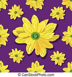 model, seamless, gele achtergrond, violet bloemen