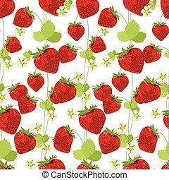 model, seamless, gemaakt, rood, aardbeien