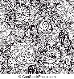 model, seamless, hand, vector, getrokken, doodles, spotprent