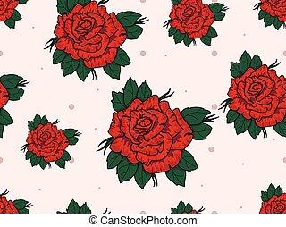model, seamless, rozen, achtergrond, wit rood
