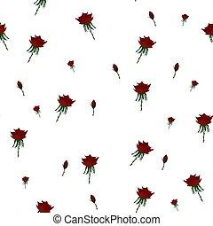 model, seamless, rozen, vector, achtergrond., rood, illustration., mooi, witte