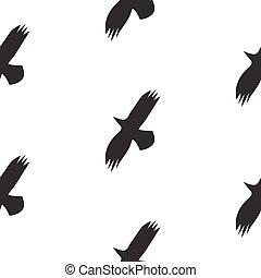 model, seamless, scandinavische, vector, black , vogels, style., raaf