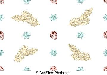 model, seamless, vector, achtergrond, witte kerst