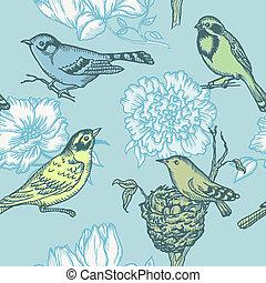 model, -, seamless, vector, bloemen, vogels