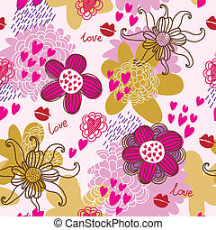 model, seamless, vector, floral
