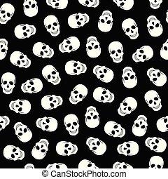 model, seamless, zwarte achtergrond, witte , schedels