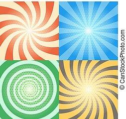 model, set., achtergronden, spiraal, halftone, vector, retro, komisch, zonnestraal, boek, effecte